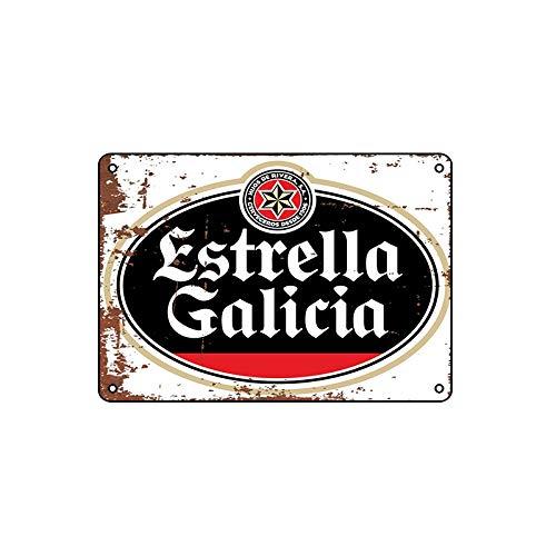 200 mm x 300 mm Nostalgic-Art Cartel de Chapa-Retro Estrella Galicia-tin sign para Cafés y bares