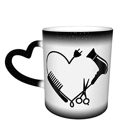 Peine, secador de pelo y tijeras, taza cambiante de color, taza de café, taza de cerámica sensible al calor, 11 onzas