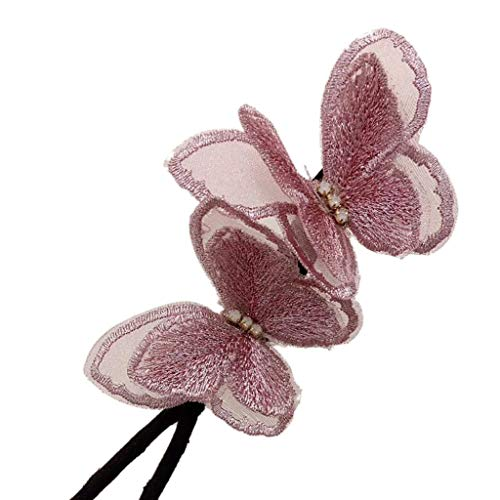 Double Flower Hair Clip, Elegant Butterfly Hair Maker,Flexible Durable Design Women Hair Dovetail Clip for Thick Long Hair (Pink) 2