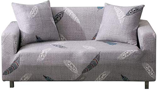 Lamberia Printed Sofa Cover Stretch Couch Cover Sofa Slipcovers for 3 Cushion Couch with Two Free Pillow Case (New Feather, Sofa-4 Seater)