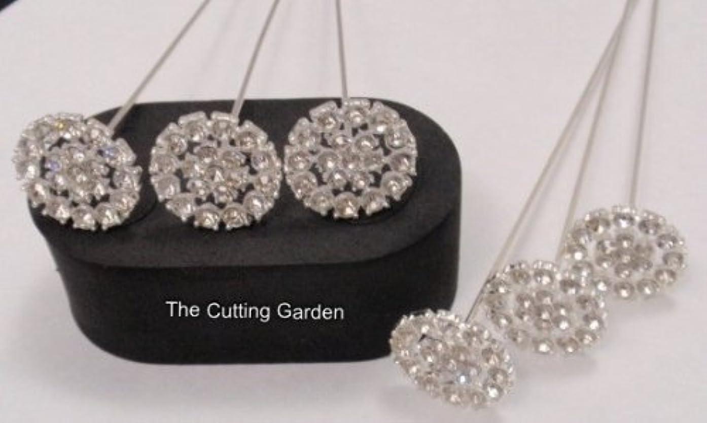 Brooch Floral Pick - Diamante Round - 6 pc