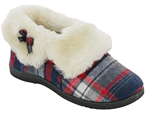Womens Warm Winter Slippers Low Ankle Fur Lined Bow Padded Shoes UK 4-8 (UK 6 / EU 39, Tartan)