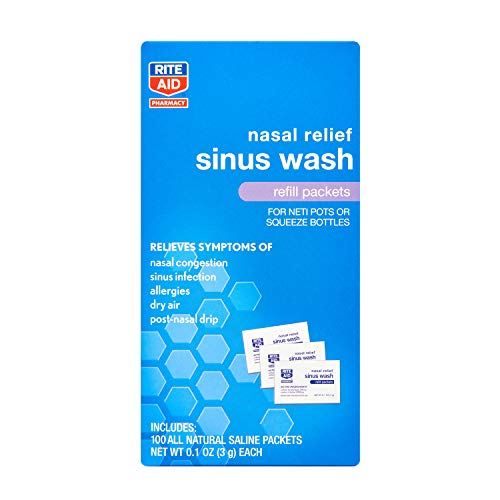 Rite Aid Sinus Wash Refill, Individually Wrapped Saline Packets - 100 Count | Sinus Rinse Refill for Neti Pots | Nasal Relief | Allergy Relief Saline Solution | Nasal Rinse | Sinus Relief Rinse Kit