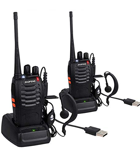 BaoFeng Long Range Radios UHF 400-470Mhz 16 Channels 1500mAh Li-ion Rechargeable Battery Earpiece SPY BF-888S Walkie Talkies for Adults (Black) -2 Pack