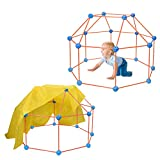 Fort Building Kit for Kids, 66PCS Forts Builder Gift STEM Construction Building Toy for Boys Girls to DIY Building Castles Tunnels Play Tent Rocket Tower Indoor & Outdoor (with Sheet) (Orange+Blue)