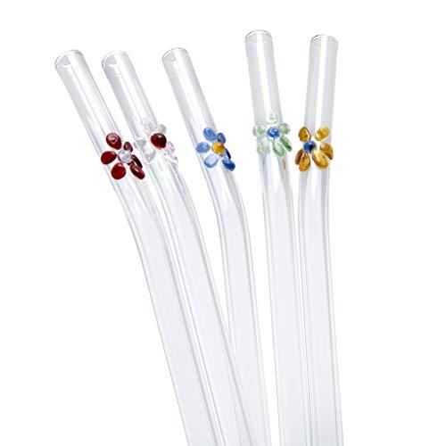 STRAWGRACE Glas-Strohhalme farbig mit bunten Blüten, handgefertigt - unabhängig in DE geprüft - 5er Set mit Bürste - Glas-Trinkhalme aus Laborglas - Glasstrohhalme: ideal für Smoothie etc, 23cm x 8mm