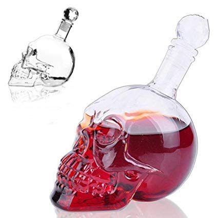 YUEWO Decanters Crystal Skull Head Shot Glass Wine Decanter Party Transparent Champagne Cocktails Beer Coffee Bottle