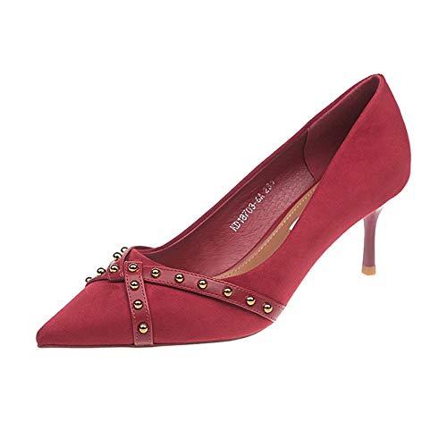 MagicXle Damen Schuhe mit hohem Absatz und flachem, spitzem Wildleder, flach und hochgeschlossen - Claret 34