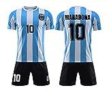 LXIN Maradona 1986 Coupe du Monde Argentine Maillot rétro de l'équipe Nationale Maillot de Football pour Enfant Adulte,A,18