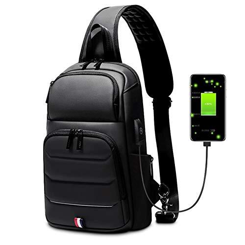Sling Mochila para Hombre Impermeable Bandolera Bolsa de Pecho con Puerto de Carga USB Grande Sling Bag para 9.7 Pulgadas iPad