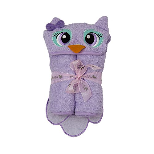 Hooded Towel Owl One of a Kind Toddler Towel Purple X Large 54'X30' 100%Cotton Animal Character with Paws and a Tail by Frenchie Mini Couture
