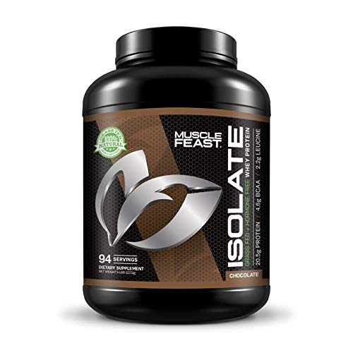 Muscle Feast Grass Fed Whey Protein Isolate, All Natural, Hormone Free, Fast Absorbing, 100% Pure Isolate, 20.5g Protein, 88 Calories (Chocolate, 5lb)