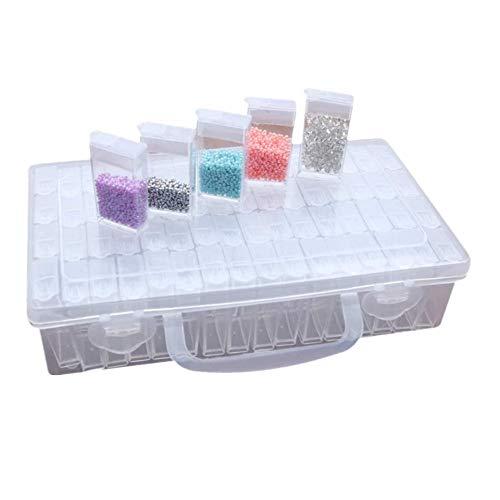 Voarge Diamant Stickerei Box Sortierbox 64 Fächer Aufbewahrungsboxen, Sortierbox Schmuck Organizer Diamond Painting Box für Schmuck DIY Handwerk Nägel, Strass, Perlen