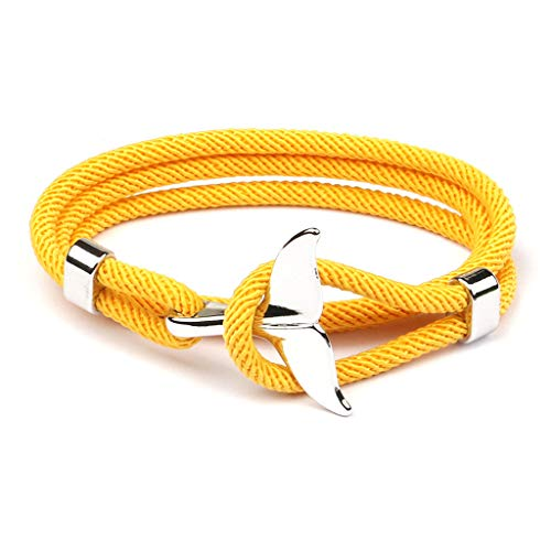 Y-QUARTER 2020 Summer Handmade Whale Tail Viking Rope String Bracelet Beach Surfing Paracord Wristband Fashion Jewelry Unisex,Jewelry Gift for Valentine