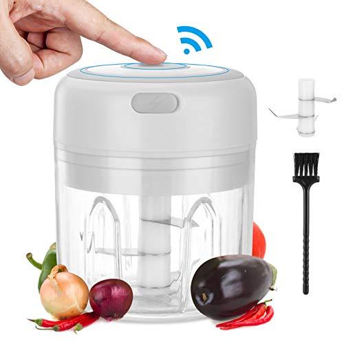 Komake Mini Elektrisch Zerkleinerer,250ML Mini Knoblauchhacker Gemüsezerkleinerer Elektrisch Zwiebelschneider mit 3 Scharfen Klingen,USB Wiederaufladbare (Weiß)