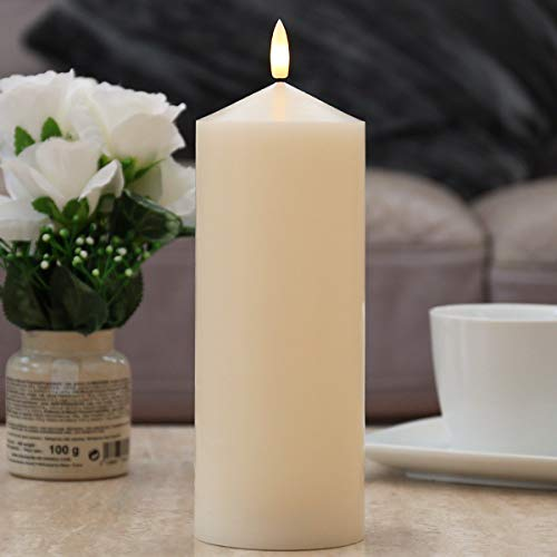 Festive Lights - Battery Operated LED Candle - Authentic Flickering Flame Effect - 3 Sizes (Ivory Chapel, Large)