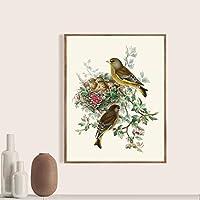 DIHEFA鳥植物ポスター鳥レトロプリント自然史壁アートキャンバス絵画リビングルーム装飾 35x45cm-フレームなし