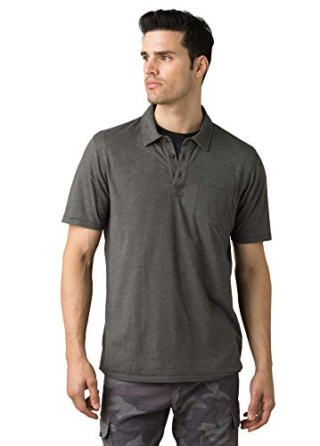 prAna Men's Standard Polo, Charcoal Heather, Small -  M11181339-CCHT-S-011-Small