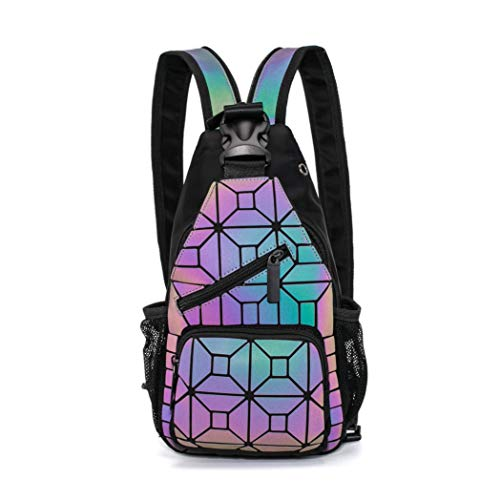 Geometrischer Rucksack, holografisch, leuchtender Rucksack, Kuriertasche, multifunktional, Schultertasche, diagonale Kreuztasche, Brusttasche
