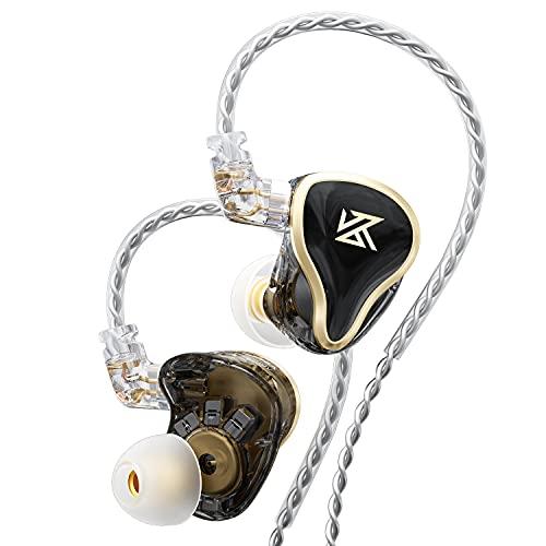 KZ ZAS in-Ear Headphones Wired,IEM Earphones,16-Unit Hybrid High-Frequency 7BA+10mm Dual DD HiFi Stereo Sound Earphones Noise Cancelling Earbuds(Black,No Mic)