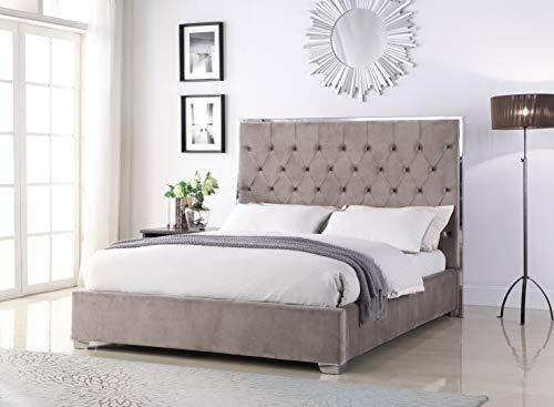 Best Master Furniture Natasha Velvet Platform Bed, Cal. King, Light Grey