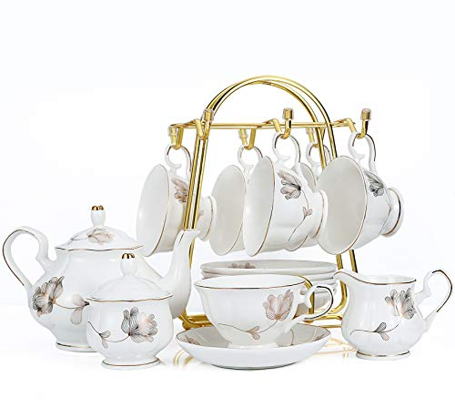 Best Price 15-Piece Porcelain Ceramic Coffee Tea Gift Sets, Cups& Saucer Service for 6, Teapot, Suga...