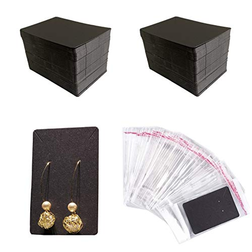 Earring Cards,150 Pcs Earring Display Cards Earring Holder Cards with 150 Self- Sealing Bags for Ear Studs and Earrings Crafts 3.5 x 2.4 Inches(Black)