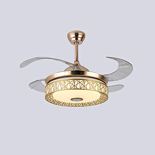 """42"""" Invisible Bluetooth Music Ceiling Fan Light Retractable 4 Blades LED 3-Color Dimmable Ceiling Fan Light Chandelier w/Music Player for Living room/Restaurant/Dining Room (Gold)"""