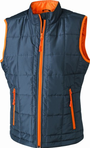 James & Nicholson Damen Outdoor Weste Steppweste Padded Light Weight grau (carbon/orange) Large