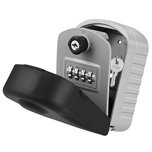 YISSVIC Caja Seguridad Llaves, Caja Llaves Impermeable con Combinación 4 Dígitos, Doble Función Abierta (Contraseña y Clave), para el Hogar, el Garaje y la Granja etc.