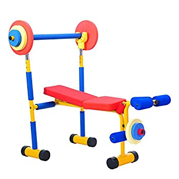 Kinbor Fun and Fitness Exercise Equipment for Kids 2-5 Adjustable Weight Bench Set Birthday Gifts