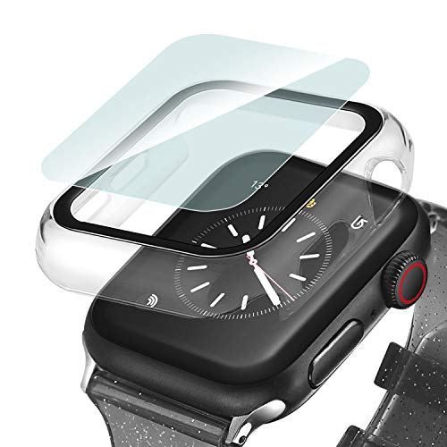 Ritastar Screen protector for Apple Watch Case 38mm Shockproof Overall Hard PC Bumper Cover with Slim Tempered Glass Protective Film Defense Edge Lightweight for iWatch Accessories Series 3 2 1,Clear