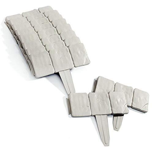 Soldela  10 Stück – Modul Rasenkante für den Garten, Stein-Effekt, 2,5 m lfm, robuster Kunststoff