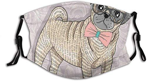 Cubierta facial Hip-ster Pug con gafas de Nerdy y pajarita diseño de dibujos animados divertido cara cubierta lavable reutilizable, decoración de la cara de ciclismo
