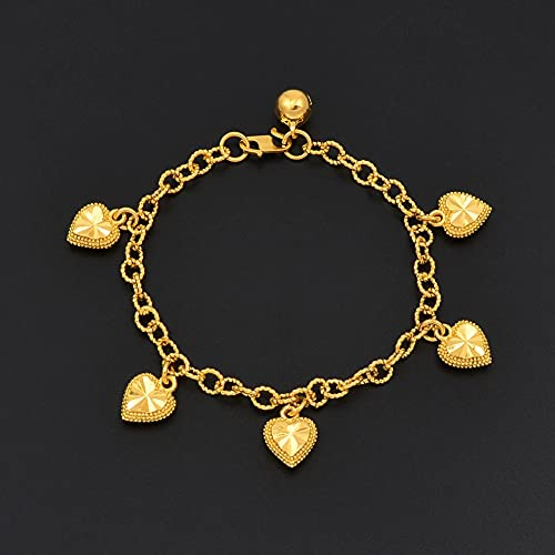 TARUO - Handmade Jewelry, Heart Bracelets with Bell for Women School Girls Gold Color Wedding Charm Bangle Jewelry Girlfriend Gift