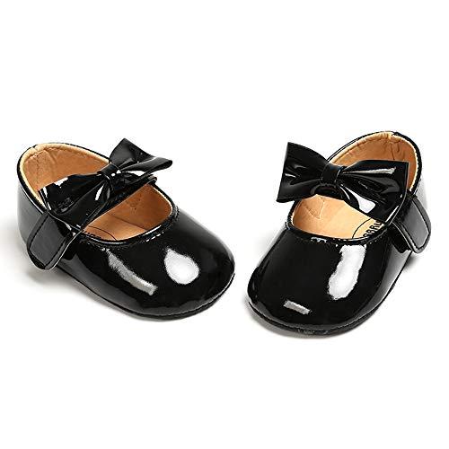 RVROVIC Baby Girls Ballerina Mary Jane Flats Toddler Girl Princess Dress Shoes Soft Infant Crib Shoes(0-6 Months Infant, 0-Black)