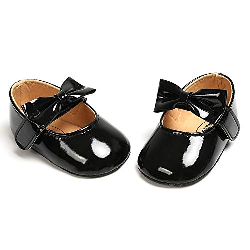 myppgg Baby Girls Mary Jane Flats Infant Bowknot Princess Dress Crib Shoes Non-Slip for Toddler First Walkers Black, 12-18 Months Toddler