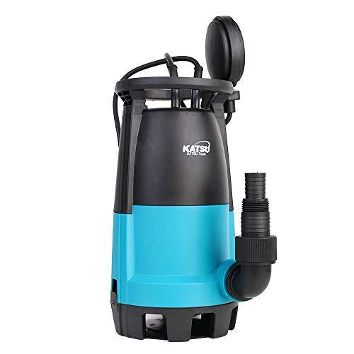 Bomba sumergible portátil KATSU 400W para agua limpia y sucia 10000L / h para estanque de jardín, piscinas, zanjas + interruptor de flotador + base intercambiable