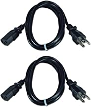 Set of 2 Premium US 6 FT Universal Power Cord 18 AWG IEC320 C13 to NEMA 5-15P for Computer Printer TV (6 Feet)