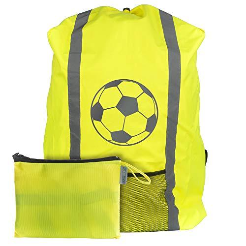 EAZY CASE Rucksack Schulranzen Regenschutz, Schutzhülle mit Reflektorstreifen, Regenüberzug, Regenschutzhülle wasserabweisend mit Reflektor und Tasche, mehr Sicherheit im Straßenverkehr, Fußball Gelb