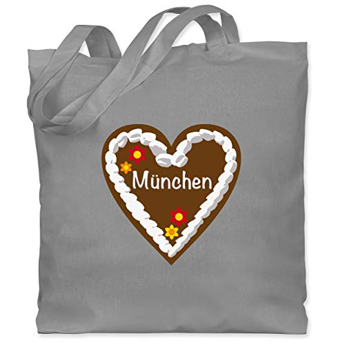 Shirtracer Oktoberfest & Wiesn Taschen - Lebkuchenherz München - Unisize - Hellgrau - lebkuchenherz - WM101 - Stoffbeutel aus Baumwolle Jutebeutel lange Henkel