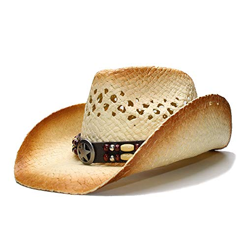 Jiangjinland 2019 Zonnehoed retro dames heren zomer stroh strand brede rand Cowboy Western Cowgirl hoed hol sterrenbeeld parel lederen band 56/58 cm 1