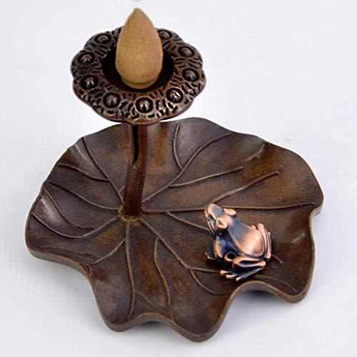 Incense burner Lotus Leaf Frog Backflow...
