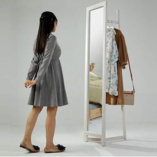 Lfixhssf Lfixhssf Multifunctionele kledingrek met spiegel eenvoudige huishoudelijke massief houten kledingrek slaapkamer creatieve opslagrek wit