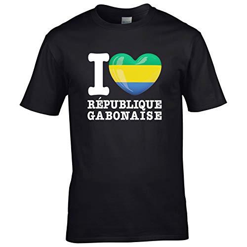 FanShirts4u Kinder T-Shirt - I Love GABUN - WM Trikot Liebe Herz Heart (12/14 Jahre 152-164 cm, I Love RÉPUBLIQUE GABONAISE - Schwarz)