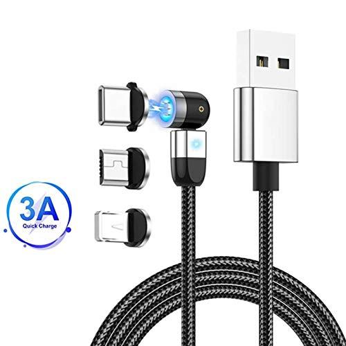Cavo di ricarica magnetico, rotazione 360°e 180°(6.6ft/2m)Cavo di trasferimento dati USB 3A a ricarica rapida Cavo magnetico 3 in 1, compatibile con Mirco USB, tipo C e dispositivo iProduct Argento