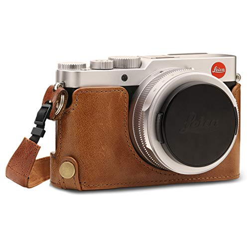 MegaGear MG1604 Leica D-Lux 7 Ever Ready Echtleder Kamera-Halbtasche mit Trageriemen - Braun