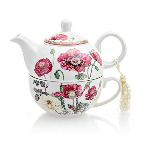 Vintage bloemenporselein thee voor een theepot en kopje set in geschenkdoos