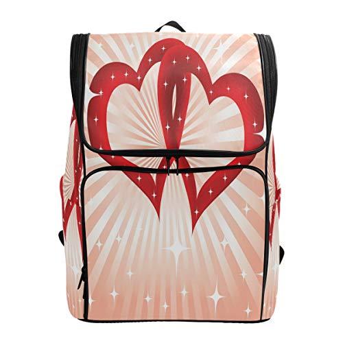 Wasserdichte Schule Büchertasche für Mädchen Jungen Valentinstag Doppelherz Wandern Rucksack Sport Rucksack