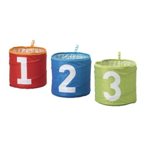 KUSINER 収納バスケット 3個セット / ターコイズ,グリーン,レッド [イケア]IKEA(10169296)